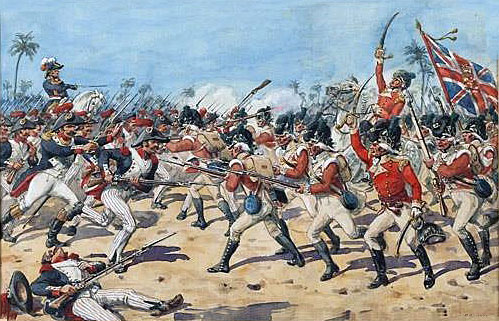 90th Perthshire Regiment at Mandora in the Battle-of Alexandria on 21st March 1801 in the French Revolutionary War: picture by Richard Simkin