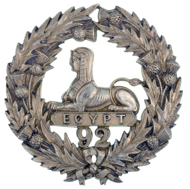 Badge of the 92nd (Gordon Highlanders) with the 'Sphinx' for the Battle of Alexandria 8th to 21st March 1801