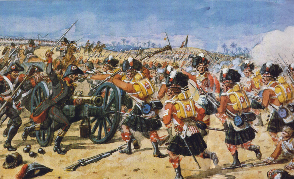 92nd Highlanders at Mandora in the Battle-of Alexandria on 21st March 1801 in the French Revolutionary War: picture by Richard Simkin