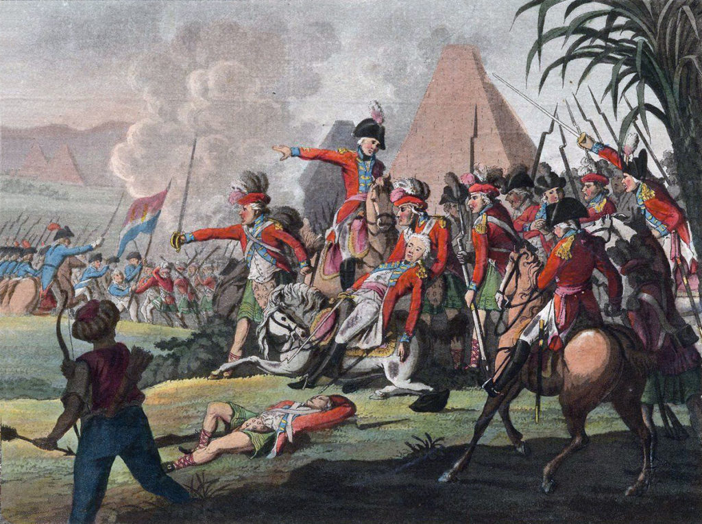 Fatal wounding of General Abercromby at the Great Redoubt in the Battle of Alexandria on 21st March 1801: there were no pyramids on the battlefield