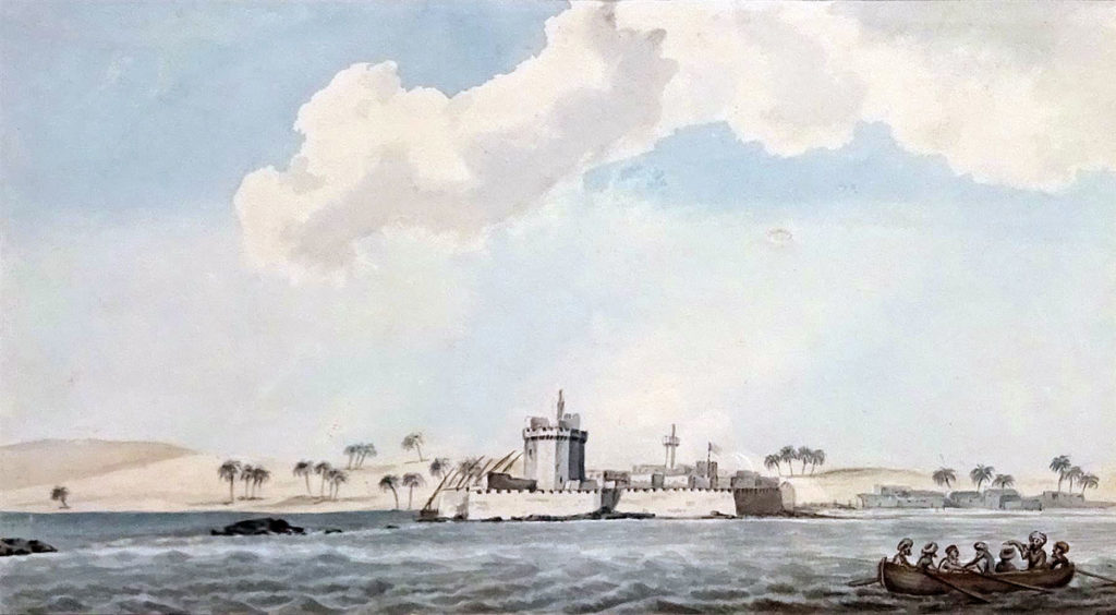 Aboukir Castle: Battle of Alexandria 8th to 21st March 1801: picture by Rev Cooper Willyams
