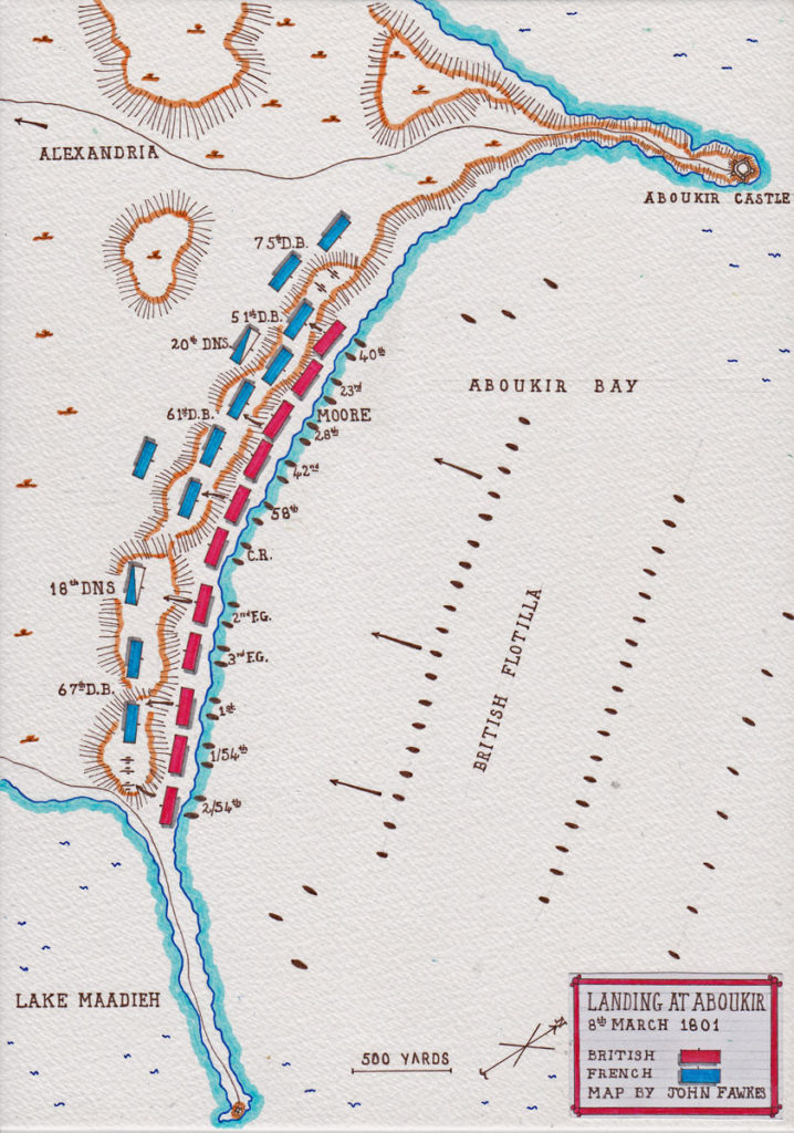 British landing in Aboukir Bay on 8th March 1801: Battle of Alexandria 8th to 21st March 1801: map by John Fawkes