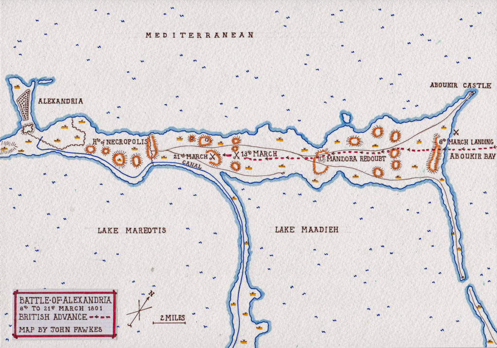 Battle of Alexandria 8th to 21st March 1801: map by John Fawkes