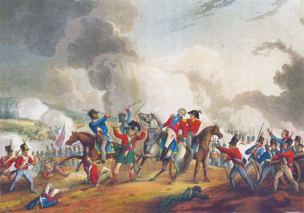 Fatal wounding of General Abercromby at the Battle of Alexandria on 21st March 1801: picture by J.J. Jenkins