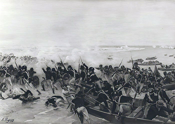 British landing in Aboukir Bay: Battle of Alexandria 8th to 21st March 1801: picture by Henri Louis Dupray