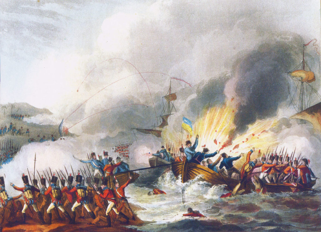 British landing in Aboukir Bay on 8th March 1801: picture by J.J. Jenkins