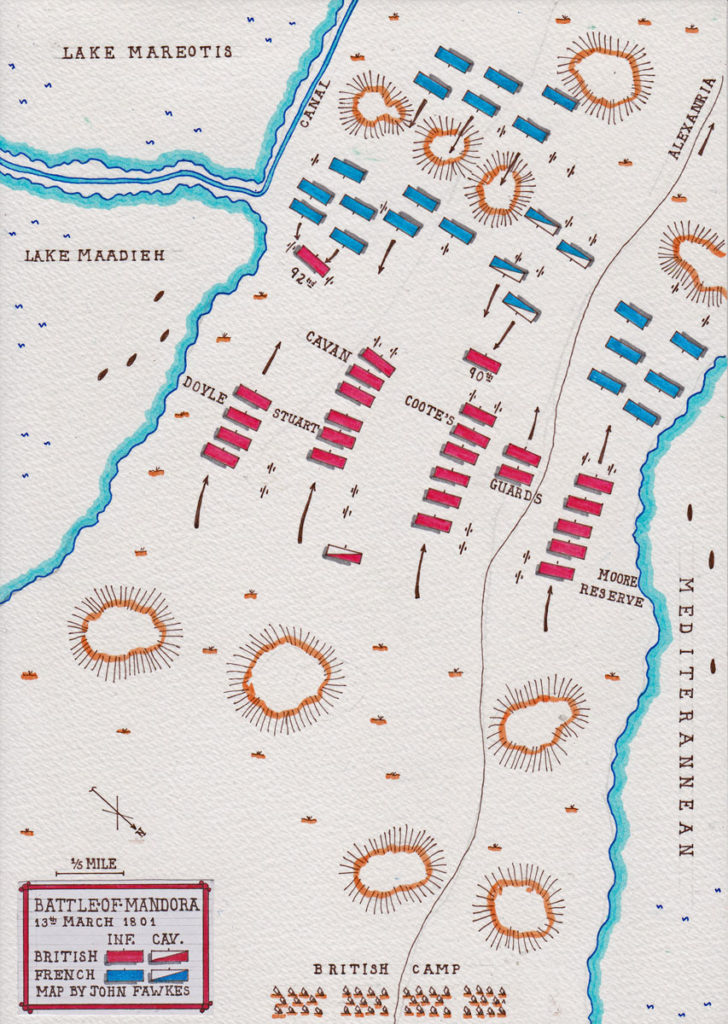 Map of the Battle at Mandora on 13th March 1801: Battle of Alexandria 8th to 21st March 1801 in the French Revolutionary War: map by John Fawkes