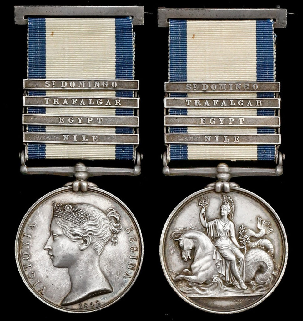 Naval General Service Medal 1848 with 'Egypt' clasp for the Battle of Alexandria 8th to 21st March 1801