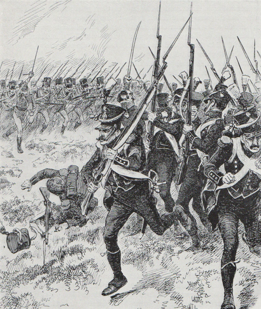 Kempt's Light Infantry meet the French 1st Light Infantry at the Battle of Maida on 4th July 1806 in the Napoleonic Wars