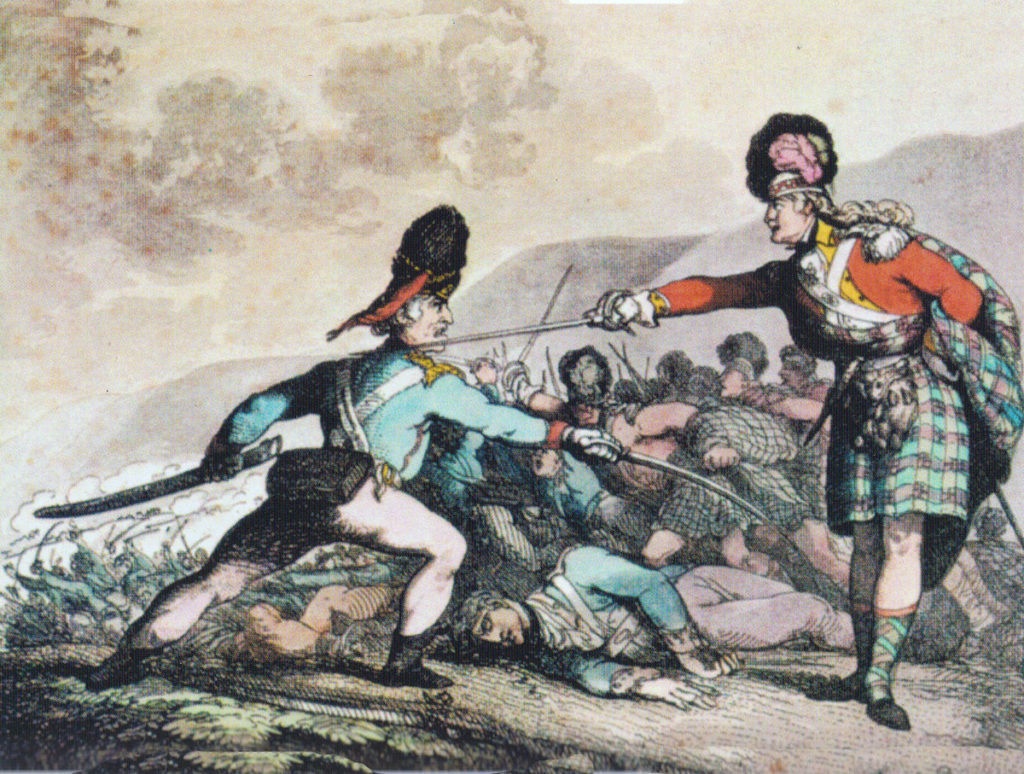 Highland Officer striking down a French Officer at the Battle of Maida or Santa Euphemie on 4th July 1806 in the Napoleonic Wars: contemporary cartoon