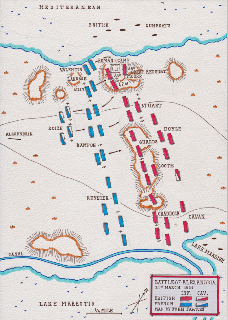 BriBattle of Alexandria  21st March 1801 in the French Revolutionary War: map by John Fawkestish landing in Aboukir Bay on 8th March 1801: Battle of Alexandria 8th to 21st March 1801: map by John Fawkes