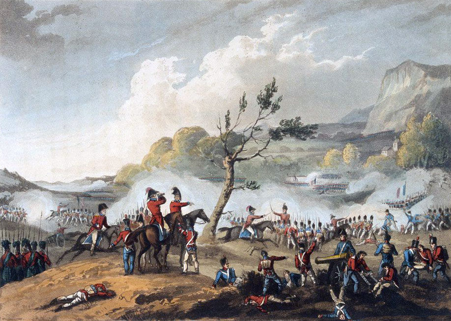 Battle of Maida on 4th July 1806 in the Napoleonic Wars: picture by J.J. Jenkins