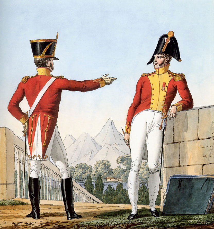 Captains of the 1st Regiment of Swiss in the French Service: Battle of Maida or Santa Euphemia on 4th July 1806 in the Napoleonic Wars: picture by Horace Vernet