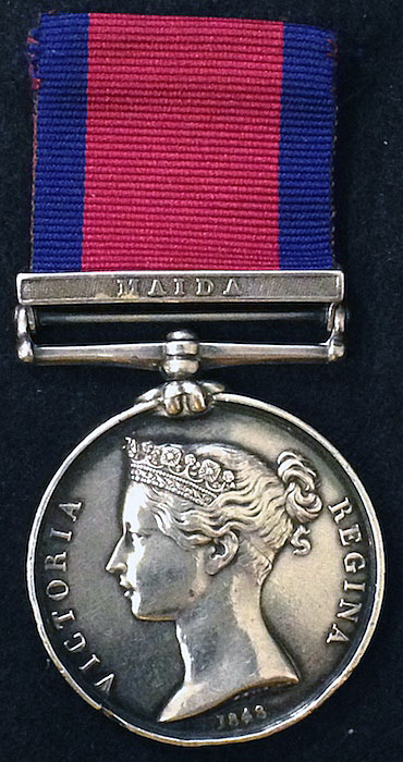 Military General Service Medal 1848 with clasp for the Battle of Maida on 4th July 1806 in the Napoleonic Wars awarded to a 78th Highlander