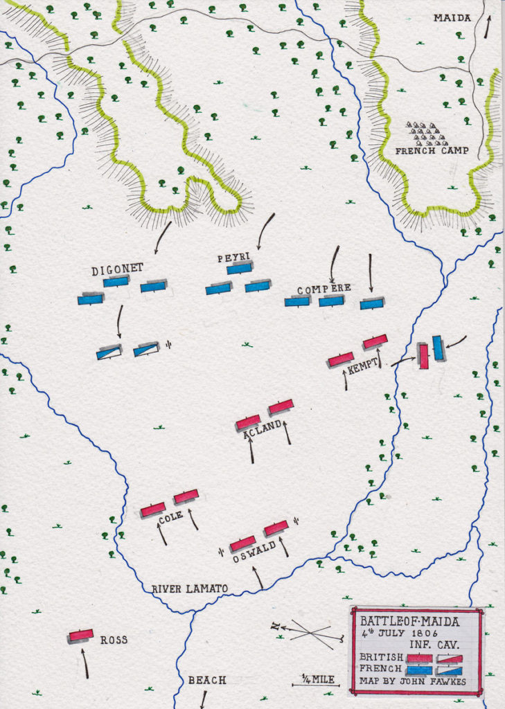 Map of the Battle of Maida or Santa Euphemia on 4th July 1806 in the Napoleonic Wars: map by John Fawkes