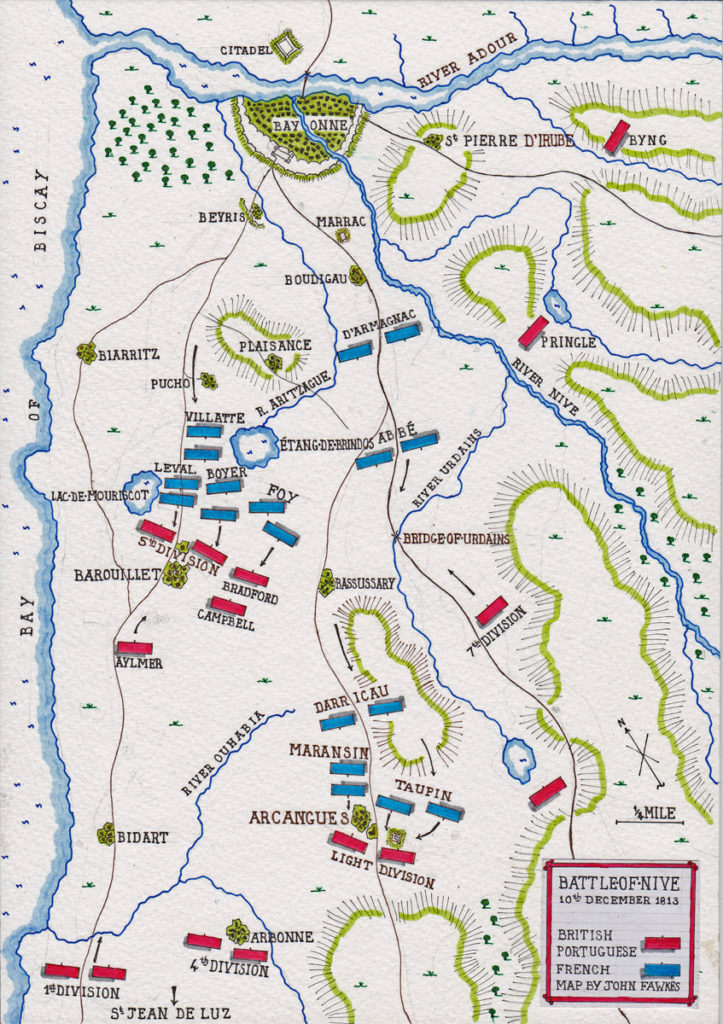 Map of the fighting on 10th December 1813 during the Battle of the Nive, fought from 9th to 13th December 1813 in the Peninsular War: map by John Fawkes