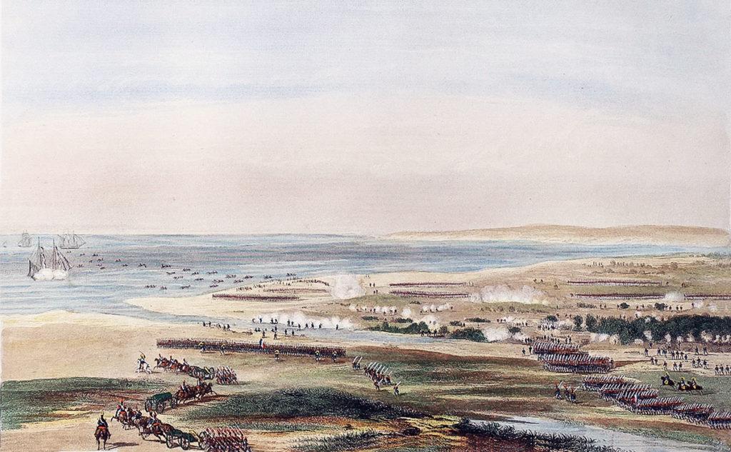 Battle of Maida or Santa Euphemie on 4th July 1806 in the Napoleonic Wars