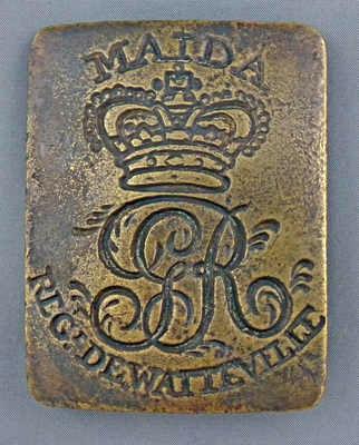 De Watteville's Regimental cross belt brass commemorating the Battle of Maida on 4th July 1806 in the Napoleonic Wars