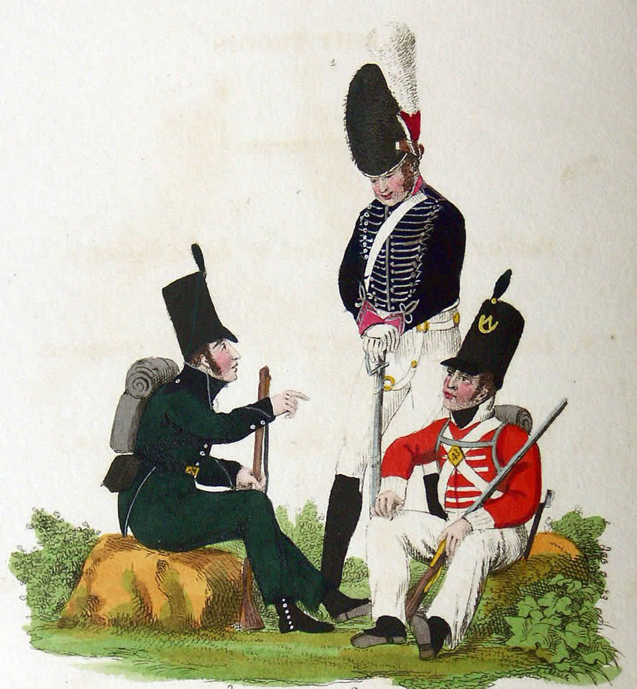 Rifleman of 95th Rifles, Dragoon of 23rd Light Dragoons and Infantryman of the 43rd Light Infantry: Battle of the River Coa on 24th July 1810 in the Peninsular War